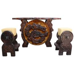 Witko Bar and Stools with Dragon and Seahorse Decoration