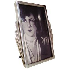 English Art Deco Wooden Backed Chrome Surround Photo Frame with Triple Sunrays