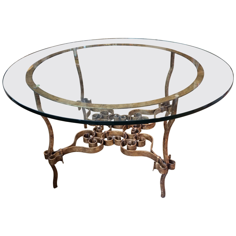Stunning Italian Gilt Metal and Glass Round Table