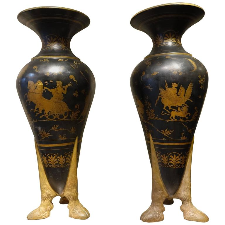 Large Pair of Tripod Amphoras in Terracotta, Naples, Italy, circa 1860-1880