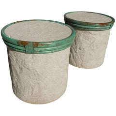Pair of Plaster and Verdigris Metal Cylinder Side Tables by Steve Chase
