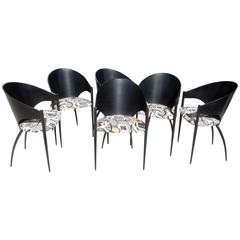 "Rare Set of Six Black Vintage Modern Cattelan Italia ""Costes"" Dining Chairs"