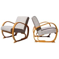 Stunning Pair of Machine Age Streamline Bentwood Lounge Chairs by Thonet