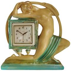 Rare Large English Art Deco Nude Mantel Clock by The Ornamental Plaster Co.