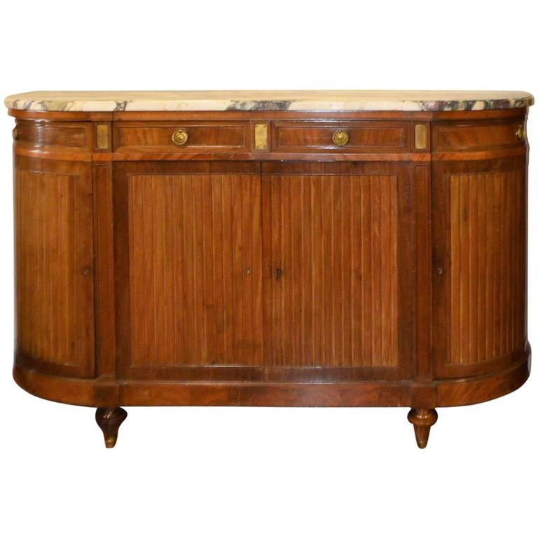 Etonnant French Mahogany Buffet Or Cabinet, Rounded Corners And Thick Marble, Circa  1900 For Sale