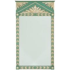 Art Deco Painted Mirror with Silver Gilt Decoration