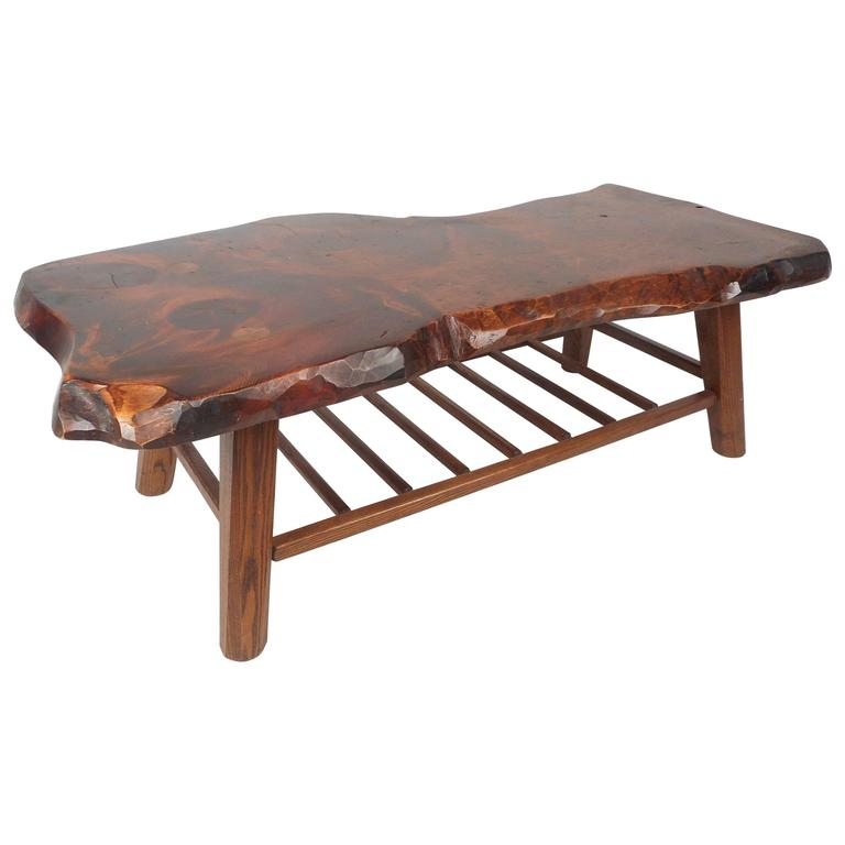 Vintage Rustic Freeform Tree Slab Coffee Table For Sale At: Mid-Century Modern Live Edge Tree Slab Coffee Table For