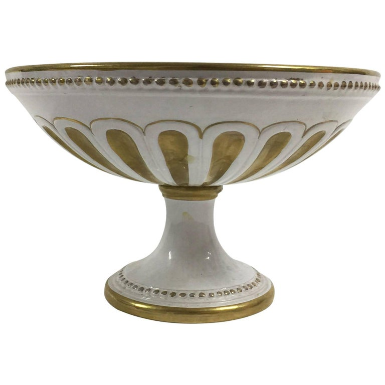 White porcelain and gold centrepiece footed bowl by ugo