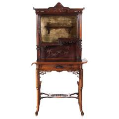Antique French Asian-Style Walnut Vitrine with Mother-Of-Pearl Inlay, circa 1890