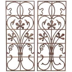 Pair of Early 20th Century Art Nouveau Wrought Iron Panels