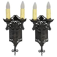 1 of 4 Spanish Revival Double Light Sconces