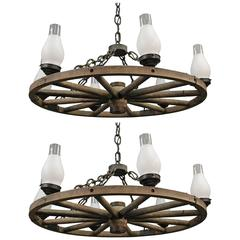 1 of 2 Large 1930s Wagon Wheel Rancho Chandelier