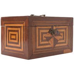 Dutch Early 19th Century Mahogany and Satinwood Inlay Apprentice Box