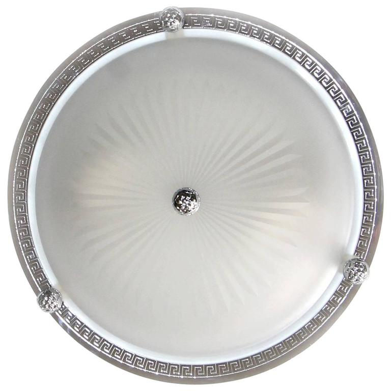 Three Vaughan Regency Style Greek Nickel And Glass Flush Mount Ceiling Lights For