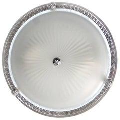 Pair Vaughan Regency Style Greek Nickel and Glass Flush Mount Ceiling Lights