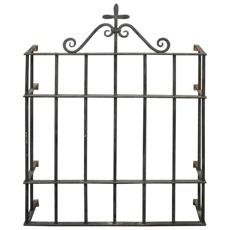 1920s Wrought Iron Window Grill For Sale