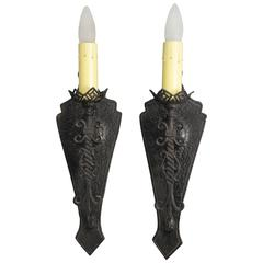 Pair of Classic Single Spanish Revival Sconces