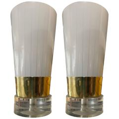 Pair of Brass, Lucite and Frosted Glass Little Table Lamps