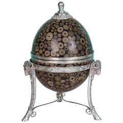 Maitland-Smith Inlaid Egg Form Silver Plate Mounted Box