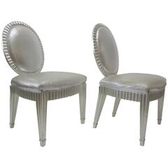 Pair of Silver Leaf and Silver Metallic Leather Neoclassical Chairs by Donghia