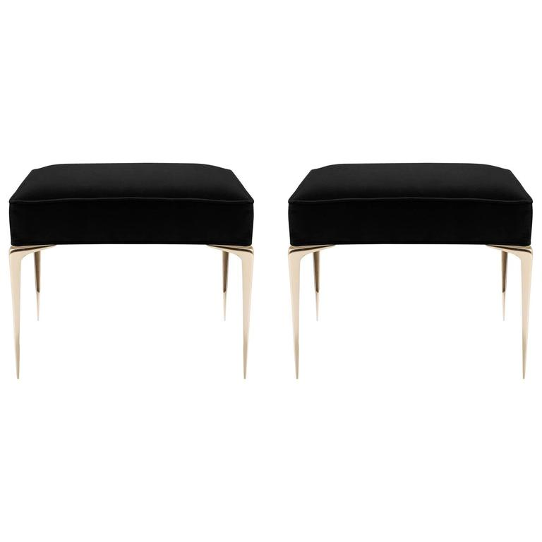 Colette Brass Ottomans in Noir Velvet by Montage, Pair 1