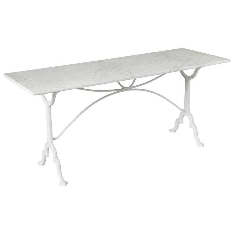 Superbe Long French Iron Bistro Table Console Table Sofa Table Carrara Marble Top,  1930s For Sale