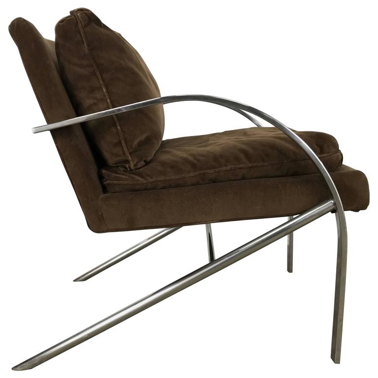 Streamline Modern Aluminium And Velvet Lounge Chair By Bernhardt