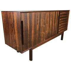 Modernist Richly Grained Rosewood Cabinet or Credenza by Brouer Mobelfabrik