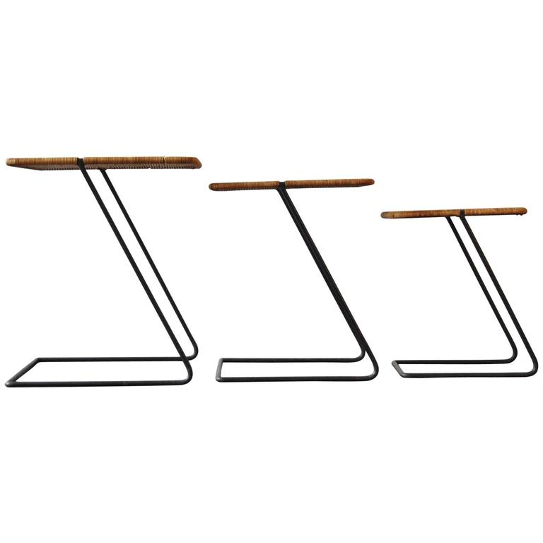 Set of Three Nesting Tables in the Manner of Mathieu Mategot, France, 1950s