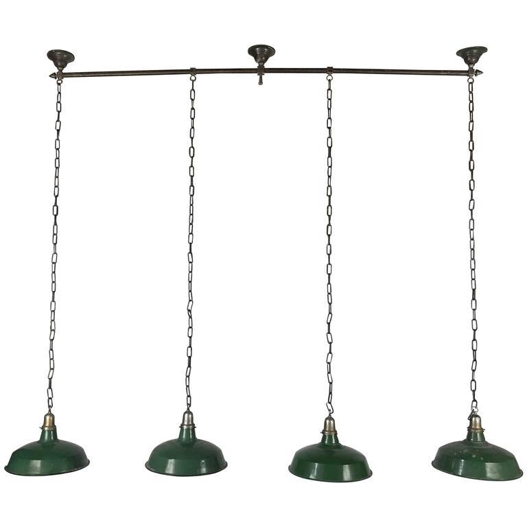 1920s Bronze and Nickel Billiard Light Fixture, Art Deco Finials For Sale