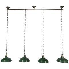 1920s Bronze and Nickel Billiard Light Fixture, Art Deco Finials