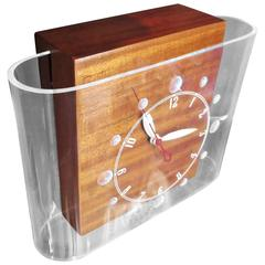 "Lackner ""Curvaline"" Neon Desk Clock in Lucite and Mahogany"