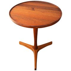 Hans Andersen Solid Teak Turned Round Side Table with Tripod Base