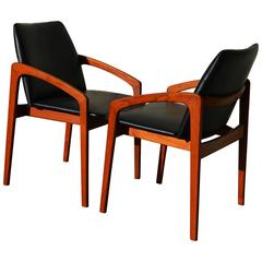 Pair of Kai Kristiansen Teak Carvers or Side Chairs, Danish