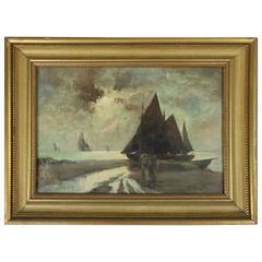 Antique European Maritime Coastal Oil on Canvas Painting, Schooner, circa 1880