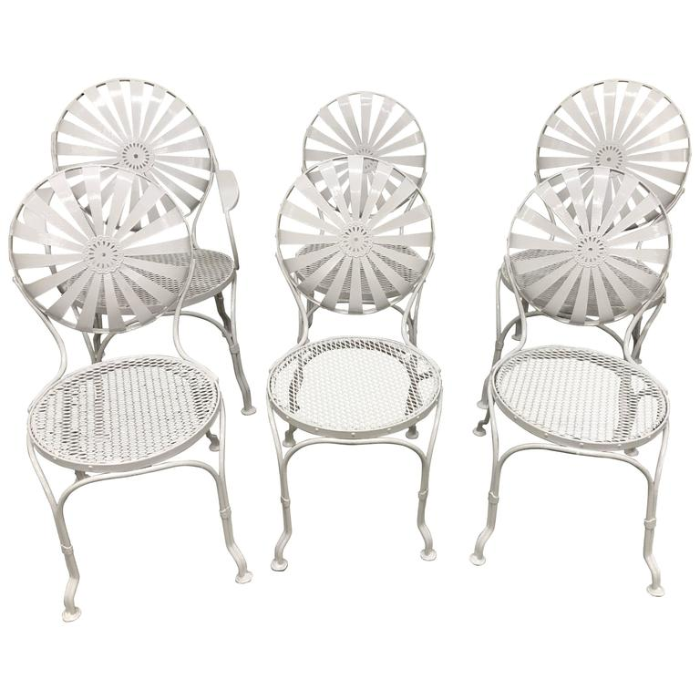Set of Six Sunburst Back Garden Chairs, by Francois Carré