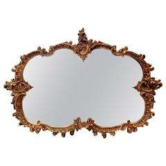 Monumental Vintage French Baroque Style Ornate Gold Gilt Mirror