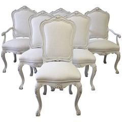Set of 4 Painted and Upholstered Linen Side Chairs by Karges
