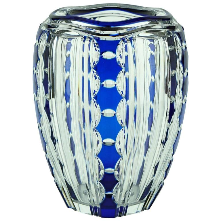 art deco val saint lambert blue overlay pietro crystal vase by joseph simon for sale at 1stdibs. Black Bedroom Furniture Sets. Home Design Ideas