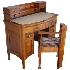 Stunning Napoleon Le Grand Arts and Crafts Inlaid Nutwood Ladies Desk and Chair