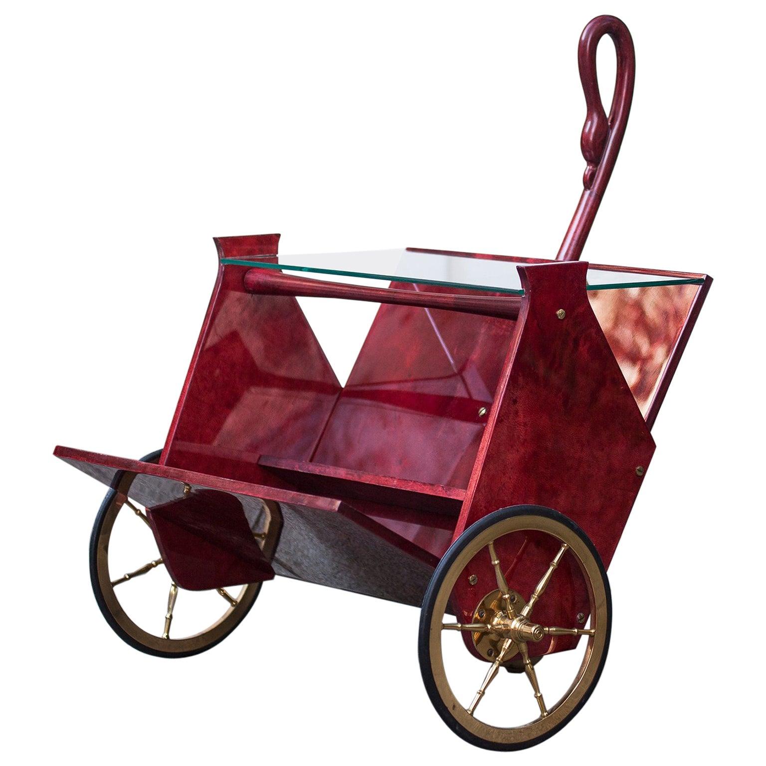Aldo Tura Red Goatskin Magazine Rack Bar Cart