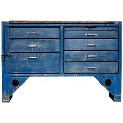 Blue Czech Work Table, 1940s