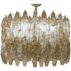 Poliedri Chandelier, Taupe and Clear, Murano Made, Midcentury Beauty, circa 1980