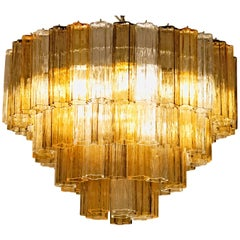 Pair of Mid-Century Murano Tronchi Penta Chandelier, clear amber gray real glass