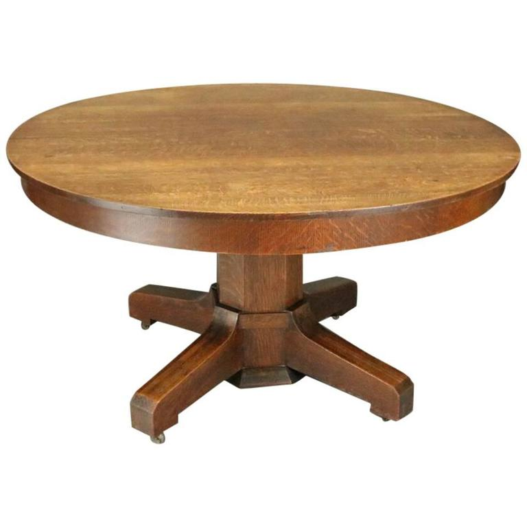 Antique Stickley Bros Arts And Crafts Mission Oak Round Dining Table Circa 1915 At 1stdibs
