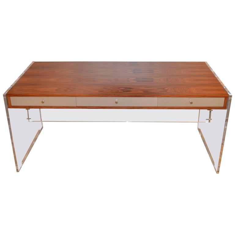Poul Norreklit Desk in Rosewood and Lucite For Sale