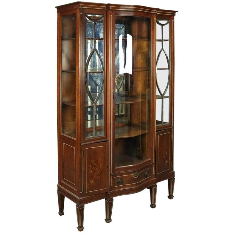 Antique Edwardian Mahogany Leaded Glass China Cabinet For Sale - Antique Edwardian Mahogany Leaded Glass China Cabinet For Sale At