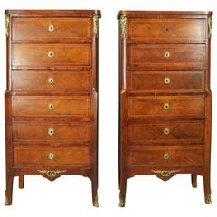 Antique Pair of French Banded Kingwood and Bronze Six-Drawer Lingerie Chests