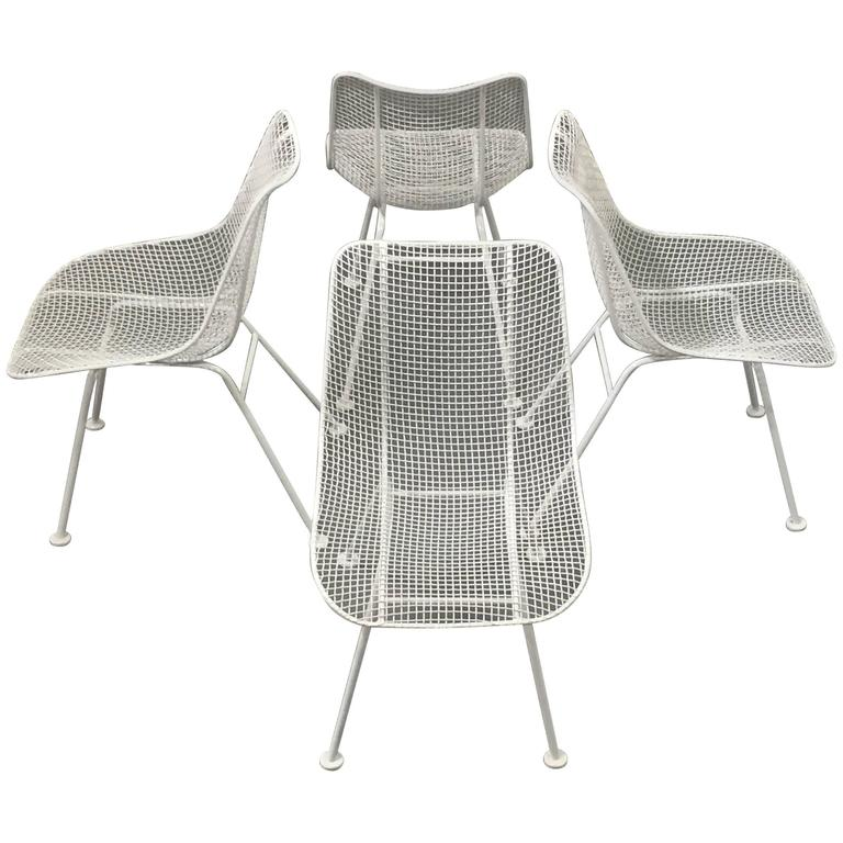 Woodard White Patio Side Chairs, Set of Four Mid Century Bertoia Herman Miller  1