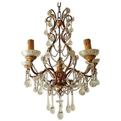 French Baroque Crystal Prisms Swags Old Chandelier